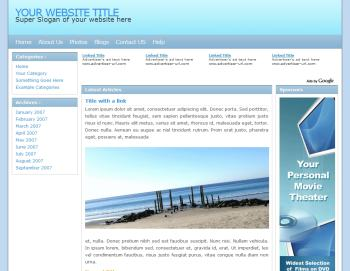 Preview of Blue 3 column css template.